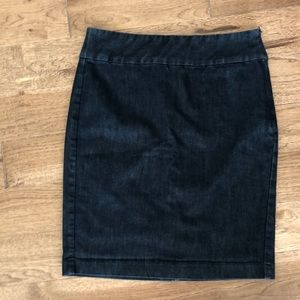 Denim stretch pencil skirt